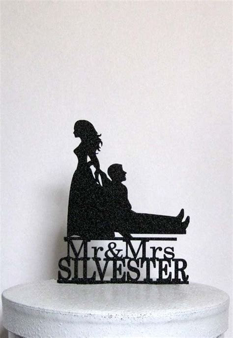 Personalized Funny Wedding Cake Topper Bride Dragging Groom