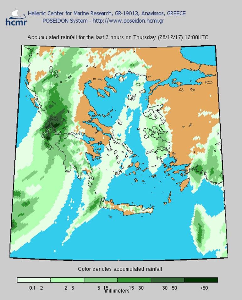 Βροχόπτωση Πέμπτη 28 Δεκεμβρίου, 12.00
