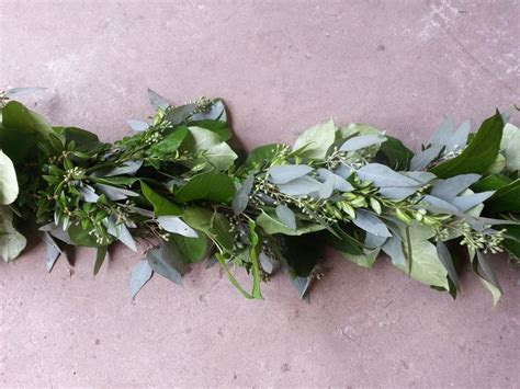 Salal, Boxwood & Seeded Eucalyptus   Garland 'Flavors