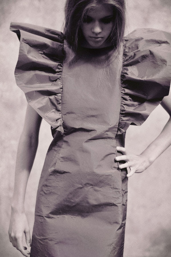 B&W fashion photography, Lulu in Chains, robot dress.