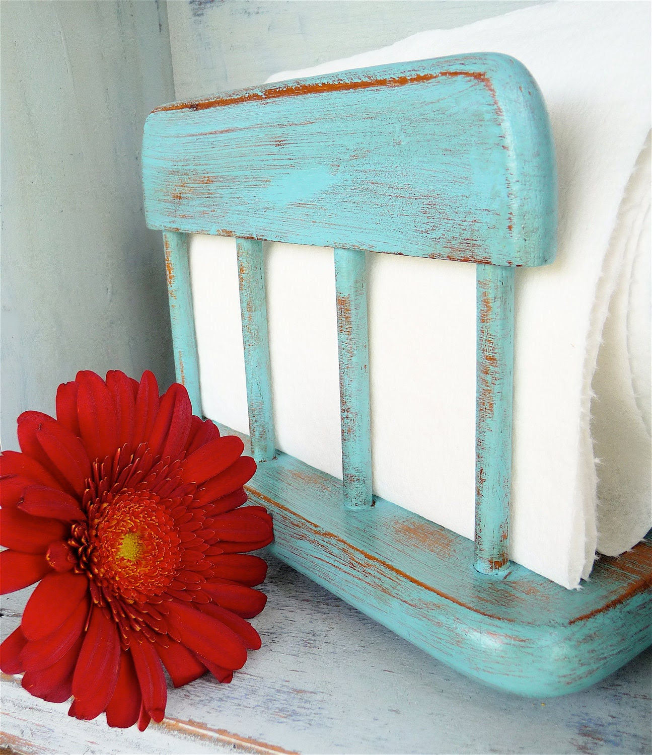Teal Shabby Chic Napkin Holder