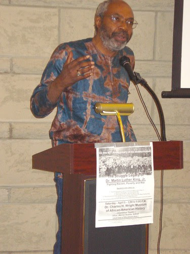 Abayomi Azikiwe, editor of the Pan-African News Wire, speaking at the Dr. Charles H. Wright Museum of African American History on April 5, 2008. The event commemorated the 40th anniversary of the assassination of Dr. Martin Luther King, Jr. by Pan-African News Wire File Photos