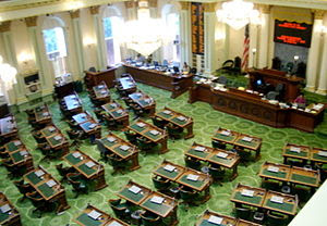 Chamber of the California State Assembly. Take...