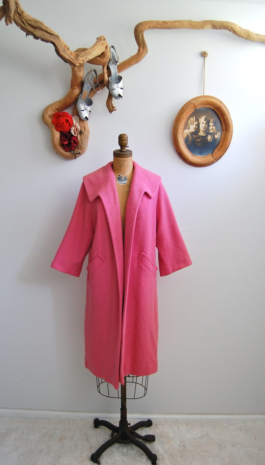Vintage 1950s Coat - 50s Pink Clutch Coat - The Dahlia