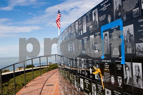 20110106_1649. Mt. Soledad war memorial in La Jolla (San Deigo) California sits high atop a bluff overlooking the Pacific Ocean.