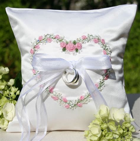 Garden Floral Heart Wedding Ring Pillow Pink   Love