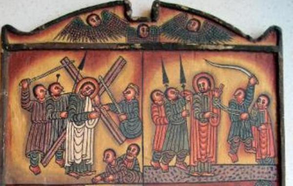 an Ethiopian diptych icon, illustrating scenes from the life of Christ, mostly his Passion
