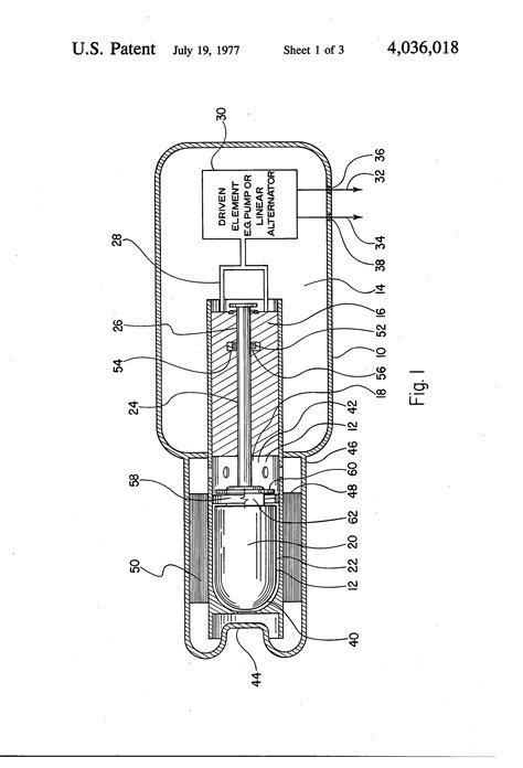 Patent US4036018 - Self-starting, free piston Stirling