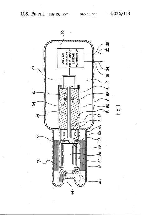 Patent US4036018 - Self-starting, free piston Stirling