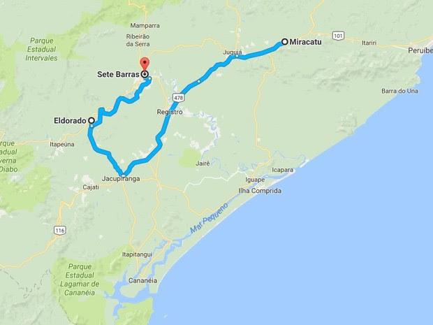 Últimos registros da jiboia do Ribeira foram em Miracatu, Eldorado e Sete Barras (Foto: Reprodução/Google)