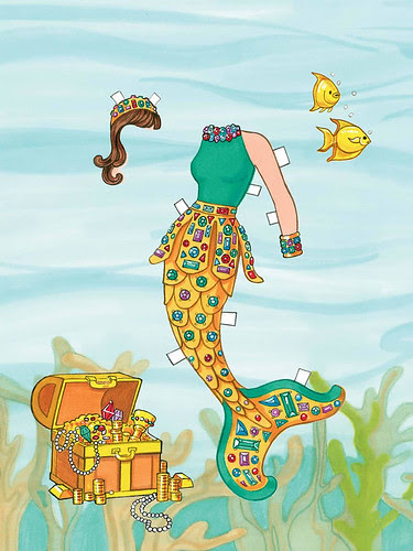 mermaid under water free paper doll 4