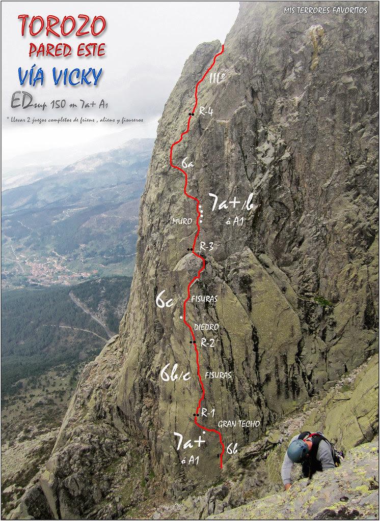 CROQUIS VÍA VICKY EDsup 150m 7a+ A1 - TOROZO ESTE
