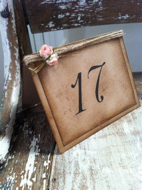Vintage Rustic, Wedding, Romantic Tent Table Numbers
