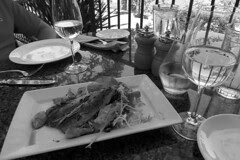 Sardines with a glass of sauv blanc