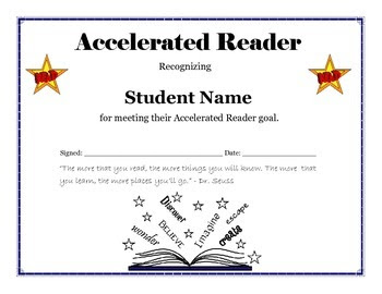 Accelerated Reader Goal Certificate - Editable by Technology ...