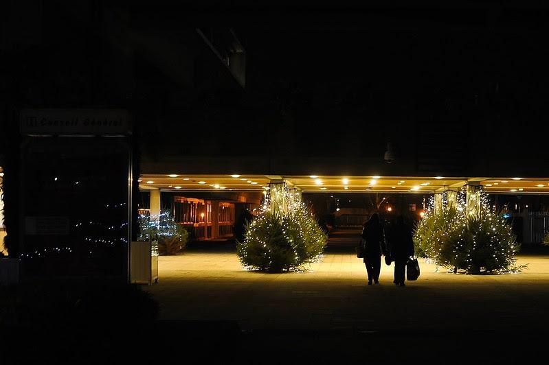 Evry Daily Photo - La cite Administrative - Couple et illumination de noel