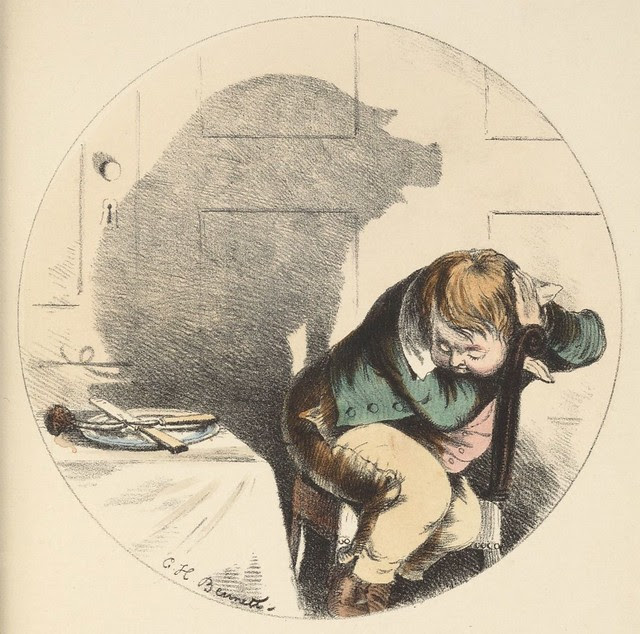 A greedy pig (1850s coloured lithograph by CH Bennett)
