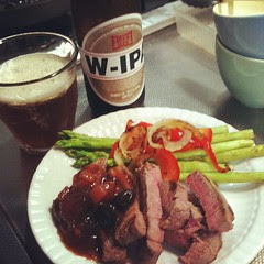 dinner: local w-ipa, filet, veggies & fig chutney #japan