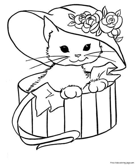 kitty cat  printable coloring pages animals