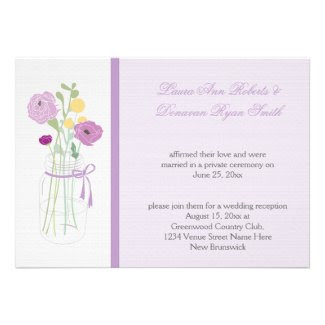 Mint and Lavender Flowers Mason Jar Reception Only