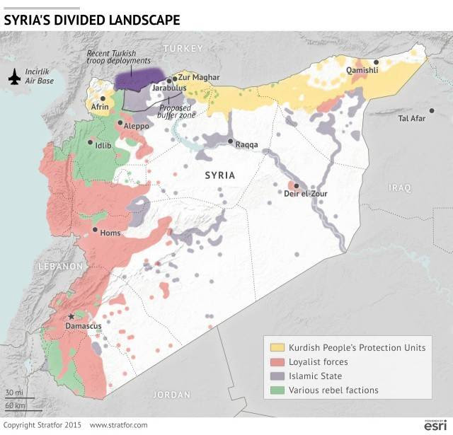 Turkish build-up on the Syrian border, as reported by Stratfor
