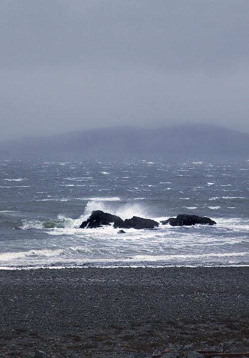 waves hit rocks, Kasaan Bay, Kasaan, Alaska