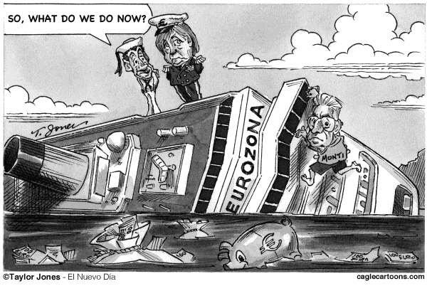 Taylor Jones - El Nuevo Dia, Puerto Rico - Bon Voyage - Eurozone - English -   eurozone,sarkozy,nicolas sarkozy,merkel,angela merkel,mario monti,italy,european debt crisis,euro,costa concordia
