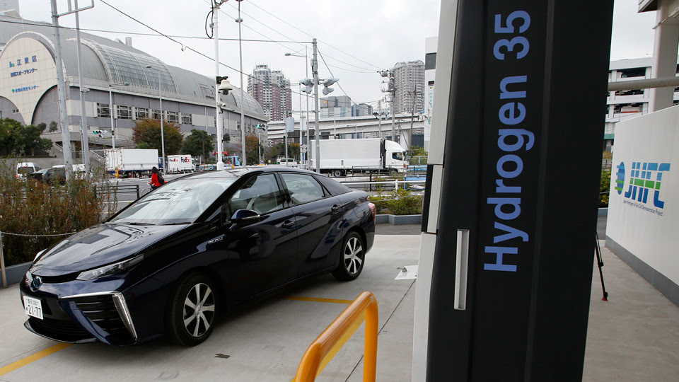 Toyota's hydrogen-powered Mirai at a fuel station