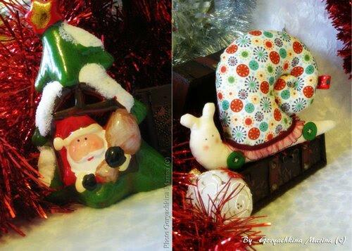 """Тильда Улитка """"Новогодние игрушки"""""""