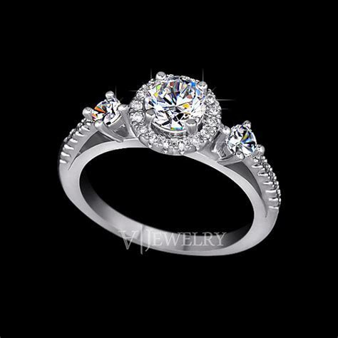 Three Stone Ring Round Cut Cubic Zirconia Halo Ring Two
