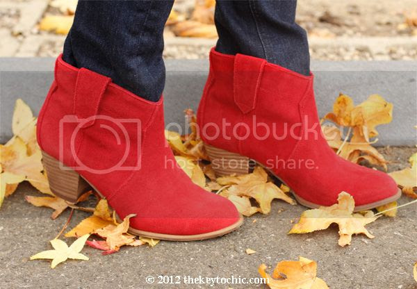 red Aldo Mandina boots, red suede cowboy ankle boots, Dicker look alike boots, Los Angeles fashion blog