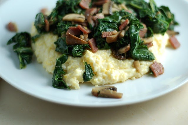 Creamy Polenta with Kale and Mushrooms | The Garden of Eating
