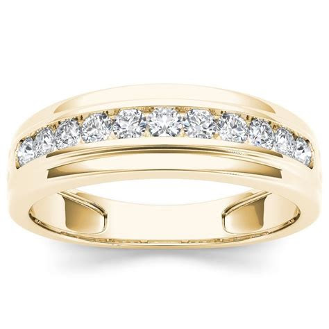 de couer  yellow gold ct tdw diamond mens wedding