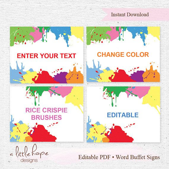 Editable Art Party Thank You Tags / Favor Tags / Instant Download ...