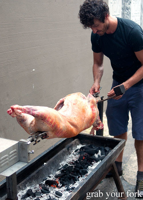 raw lamb on a spit at freda's chippendale