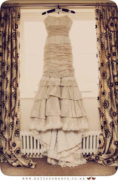 Wedding Dress hanging at Maison Talbooth Dedham Wedding Photography Essex - Sian and James - Hello Romance Wedding Photography