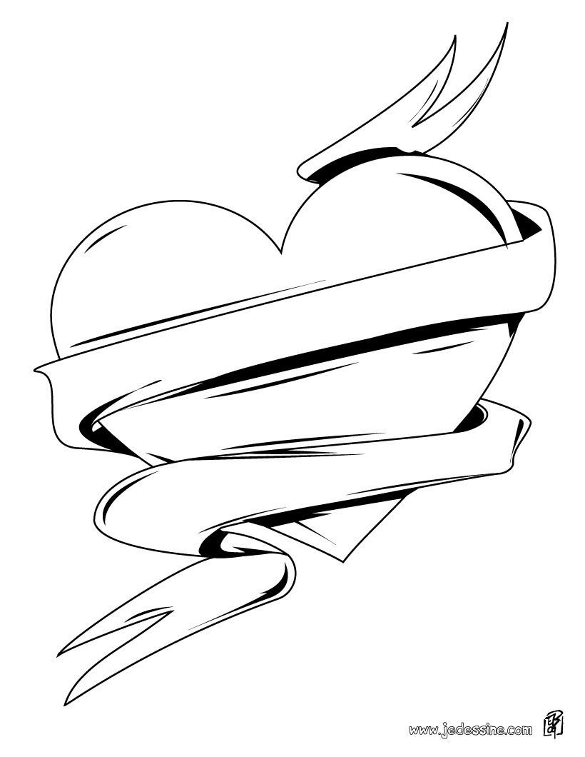 Coloriage d un gros coeur de Saint Valentin