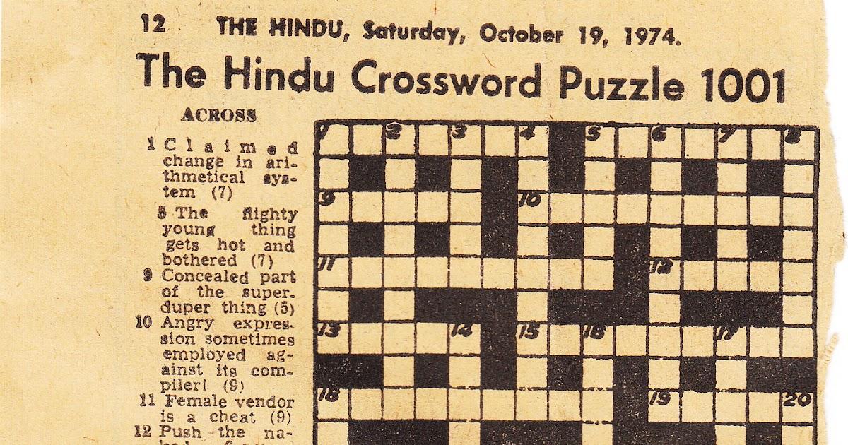 The Hindu Crossword 1001 October 19 1974 Crossword Unclued