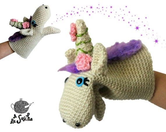 Unicorn Puppet crochet pdf pattern INSTANT DOWNLOAD