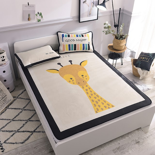 HOT OFFERS Nordic Children Summer Bed Mat Washable Students Topper Sheet Ice Silk Animal Giraffe Mattress Protector Cover Set SPECIAL Best Price H2 BUY Now LIMITED DISCOUNT TODAY