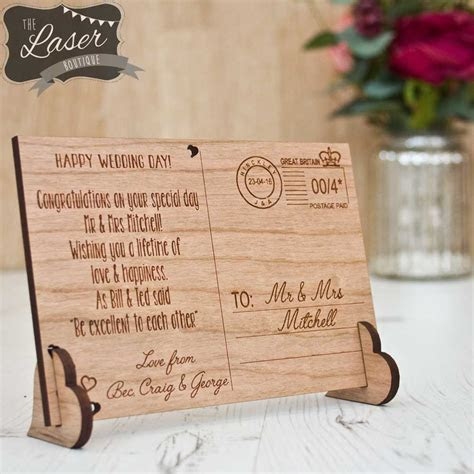 Wooden Wedding Post Card   The Laser Boutique
