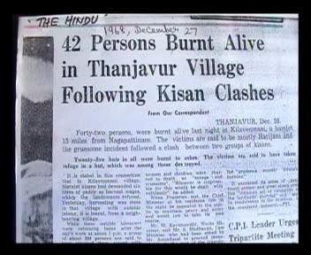 Clashes between Kisans- 42 burnt alive, Keezhvenmani Dalit Massacre