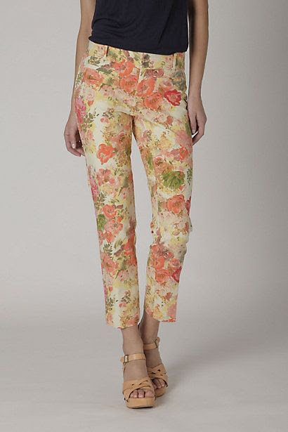 Anthropologie Floral Sateen Slims