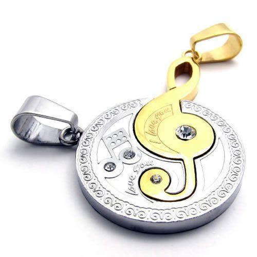 KONOV Jewelry 2pcs Mens Womens Couples Music Stainless Steel Pendant Love Necklace Set, Silver Gold: KONOV Jewelry: Jewelry