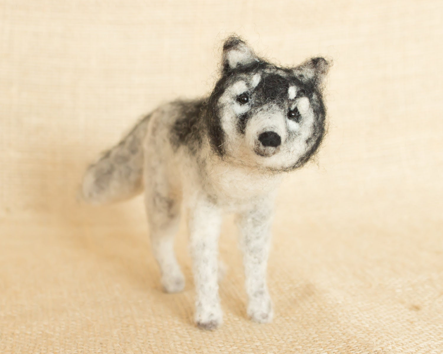 Midnight the Wolf: Needle felted animal sculpture - TheWoolenWagon