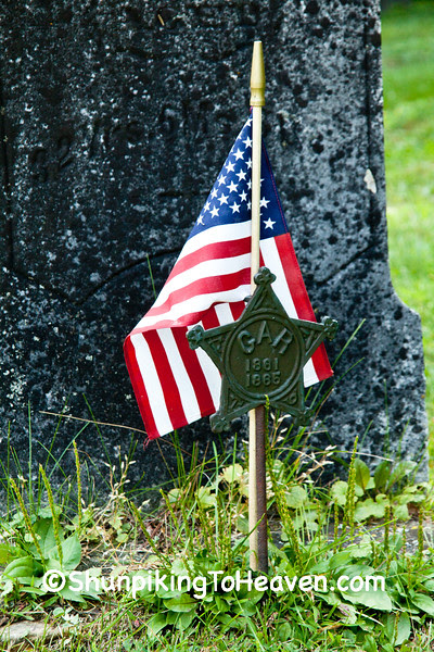 Civil War Veteran's Grave with Flag and GAR Marker, Green County, Wisconsin
