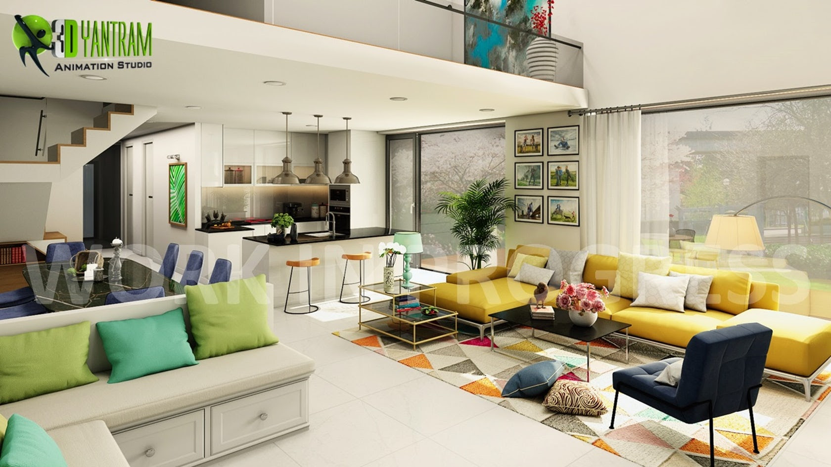 3d Interior Open Kitchen With Living Room Modeling Design On