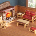 Miniature Lodge Furniture Collectible Figurine Set