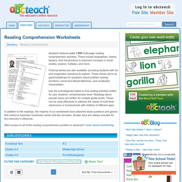Reading Prehension Worksheets And Printables Fiction