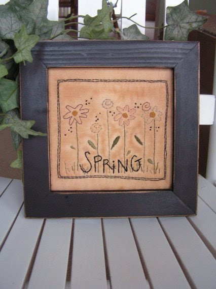 Primitive Stitchery Spring Flowers- spring, April, Easter decorating